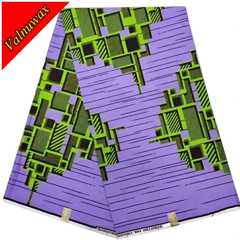 Veritable super wax Hollandais prints fabric african ankara wax real wax cotton textiles sewing 6yards for dress -KWS