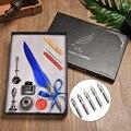 Роскошная каллиграфия перо Dip Ручка набор чернил канцелярские Подарочная коробка с пером свадебное перо ручка металлическая авторучка наб...