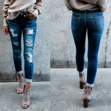 купить Casual Long Jeans Women Mid Waist Skinny Pencil Blue Denim Pants ladies Ripped Hole Slim Fit Skinny calca Jeans boyfriend jeans дешево