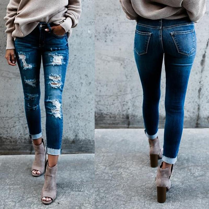 Casual Long   Jeans   Women Mid Waist Skinny Pencil Blue Denim Pants ladies Ripped Hole Slim Fit Skinny calca   Jeans   boyfriend   jeans