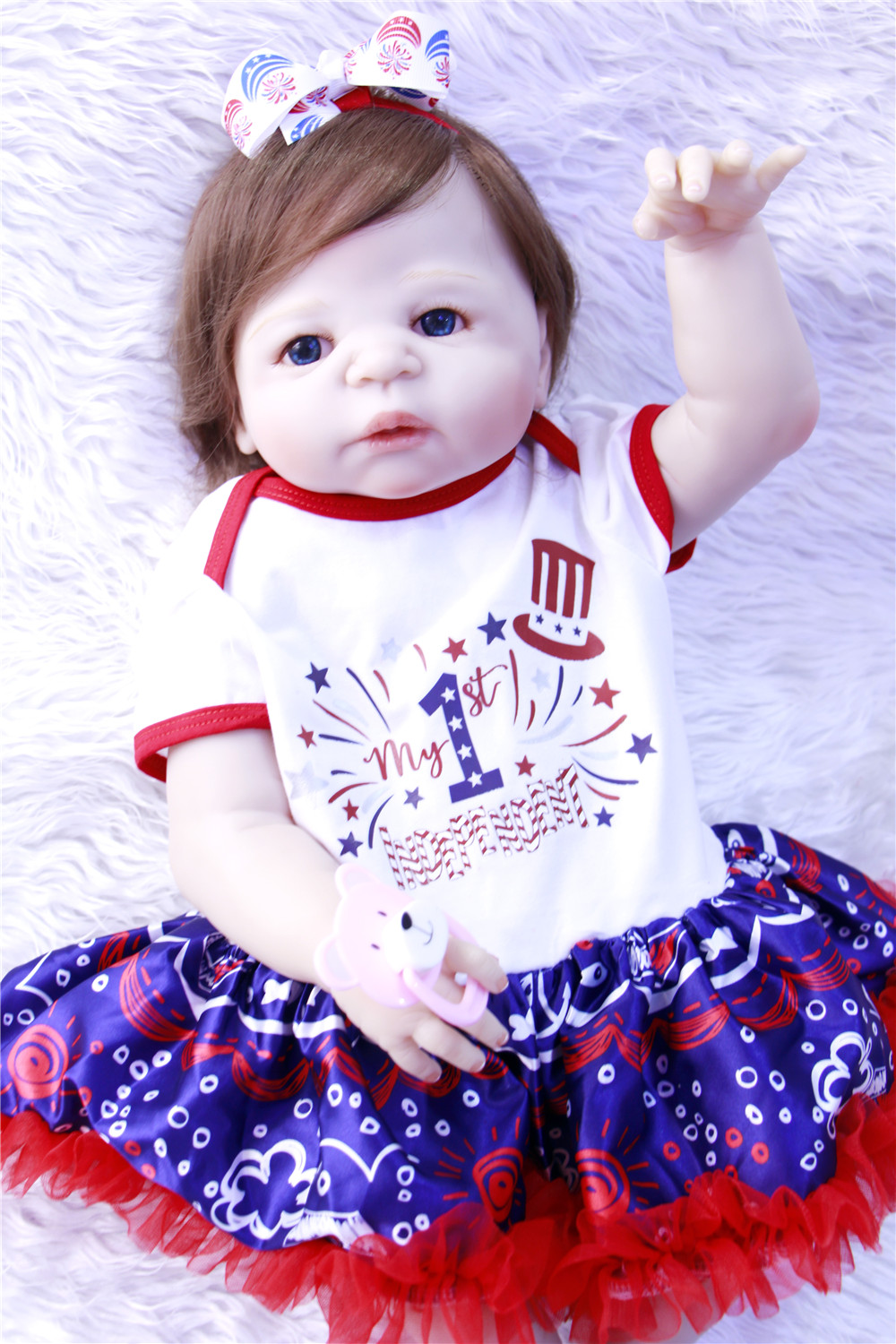 57CM/23'' Real Full Silicone Body Girl Reborn Baby Girl Doll Toys Realistic Newborn Princess Babies Fashion Dolls Toy Bebe Rebor цена