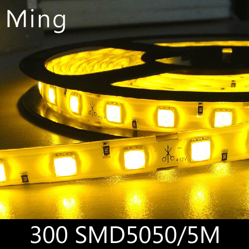 LED strip light ribbon single color  or RGB 5 meters 300 pcs SMD 5050  DC 12V with connector