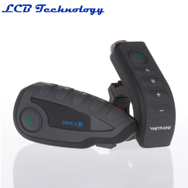 1000M V8 5 Riders Motorcycle Bluetooth Helmet Headset Intercom Handlebar Remote Control with FM NFC Function
