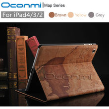 High quality World Map leather case for Apple iPad 2 3 4 with stand function credit card slots wallet cover for iPad 4 bag case