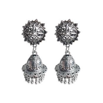 ZHENXIN Jeep Zhai People Ancient Silver round Earrings Nepalese Chic Earrings Handmade old zinc Alloy Earrings