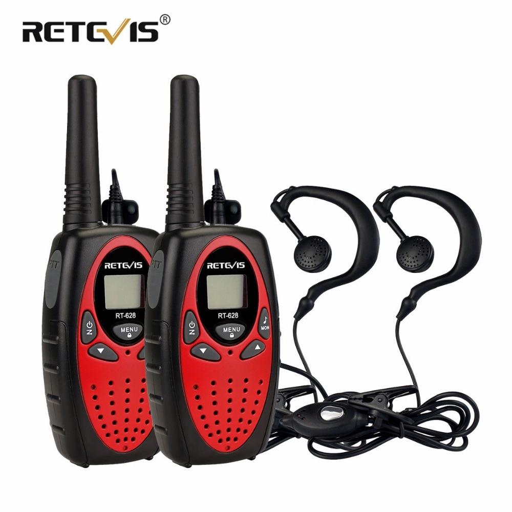 2pcs 4Colors Retevis RT628 Mini Walkie-Talkie For Kids+2pcs 1Pin Headset 0.5W PMR FRS Children's Two Way Radio Walkie Talkie Set