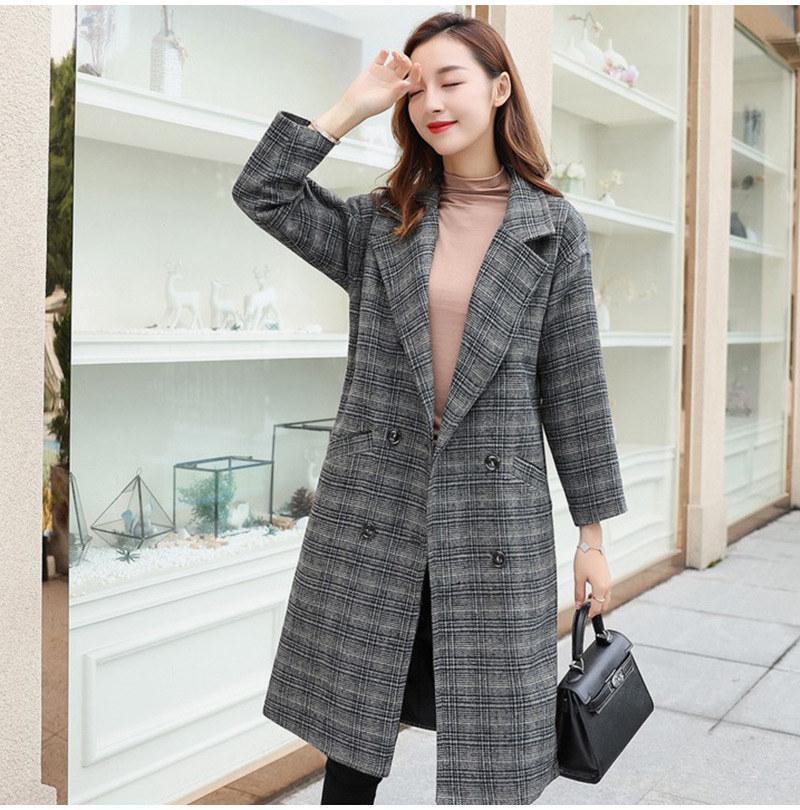 Winter Check Velvet Coat Female Notched Warm checkered Woolen Women's Coats Fleece Office Lady 19 Vintage Long Overcoat Woman 8
