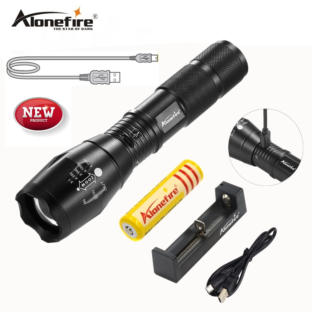 AloneFire G700-U Portable USB Rechargeable LED Flashlight LED Torch Zoomable Flashlight CREE XM-L T6 LED 5 Mode Light e17 cree xm l t6 2400lumens led flashlight torch adjustable led flashlight torch light flashlight torch rechargeable