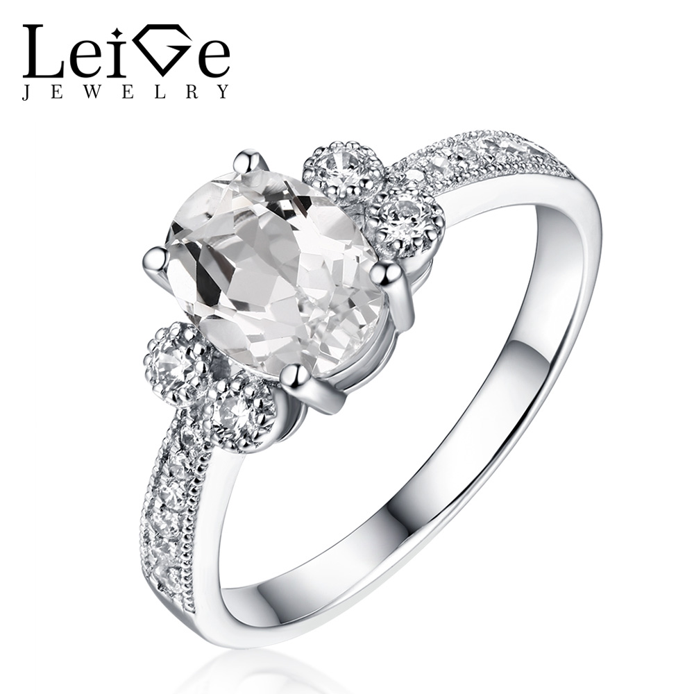 Leige Jewelry 925 Sterling Silver White Topaz Engagement Rings for Women Oval Cut Anniversary Rings with Stones Gem Jewelry