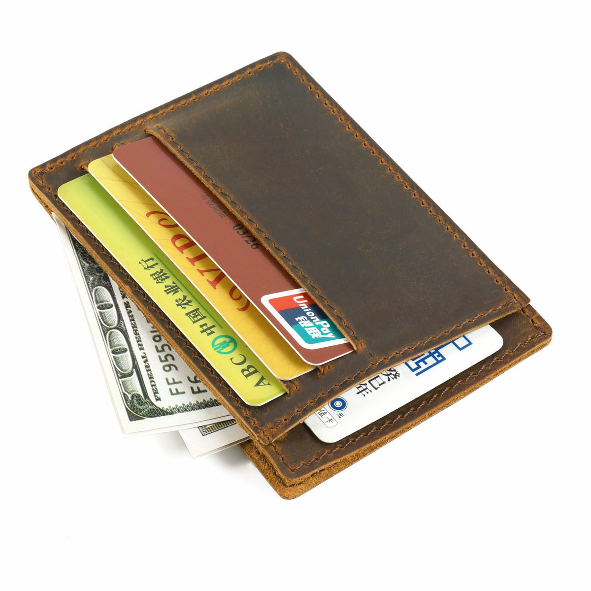 2018 New Arrivals Men Credit ID Card Holders Vintage Design Crazy Horse Leather Customized Business Unisex Wallet Free Shipping new unisex big discount genuine leather name card purse id credit holders wallet bags clip free shipping