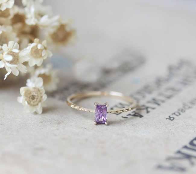 ZHOUYANG anneau pour femmes Style coréen carré violet cubique zircone lumière jaune or couleur bijoux de mode cadeau pour les filles KBR011