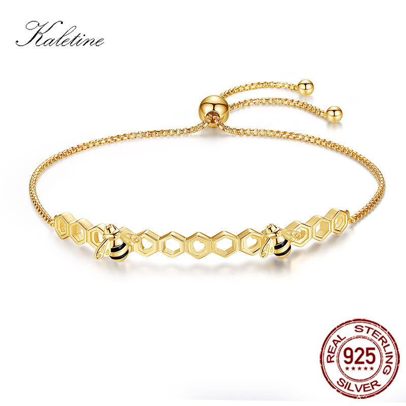 KALETINE Honey Bee 925 Sterling Silver Bracelets Colorful Heart Luxury Love Comb Rose Gold Bee Jewelry For Men Women Bracelet kaletine honey bee 925 sterling silver bracelets colorful heart luxury love honey comb golden bee jewelry for men women bracelet