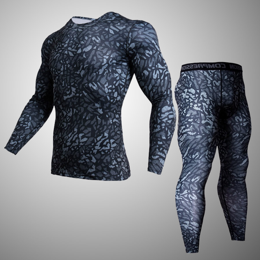 2018 Men Compression Tights Camouflage Jogger Tights Long Pants Fitness Skinny Leggings Trouser Sport Suit rashgard kit ...