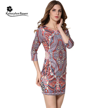 2016 New Womens Sexy Slim half sleeve Round neck Vintage print dress  Mini Dress Fashion Casual Party Club Fitted Sheath Dress