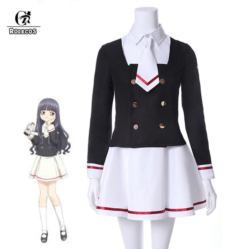 ROLECOS Cardcaptor Sakura Clear Card Cosplay Costume Sakura Kinomoto Cosplay Shaoran Li Costume Tomoyo School Uniform New Anime
