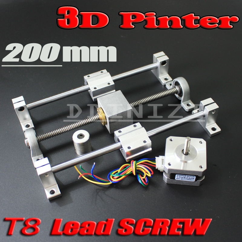 3D Printer guide rail sets T8 Lead screw length 200mm + linear shaft 8*200mm+KP08 SK8 SC8UU+ nut housing +coupling + step motor toothed belt drive motorized stepper motor precision guide rail manufacturer guideway