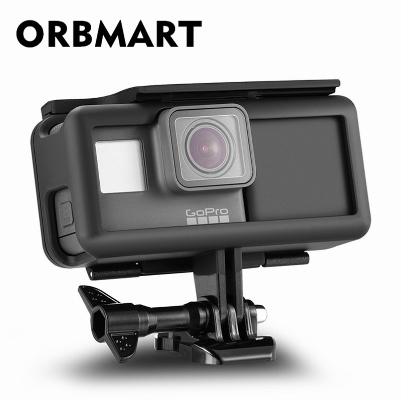 ORBMART Protective Housing Case Frame + 2300 mAh Battery Inside Power Bank For Gopro Hero 5 6 7 Black Action Sport Camera camouflage protective housing case standard border frame for gopro hero 5 6 black edition