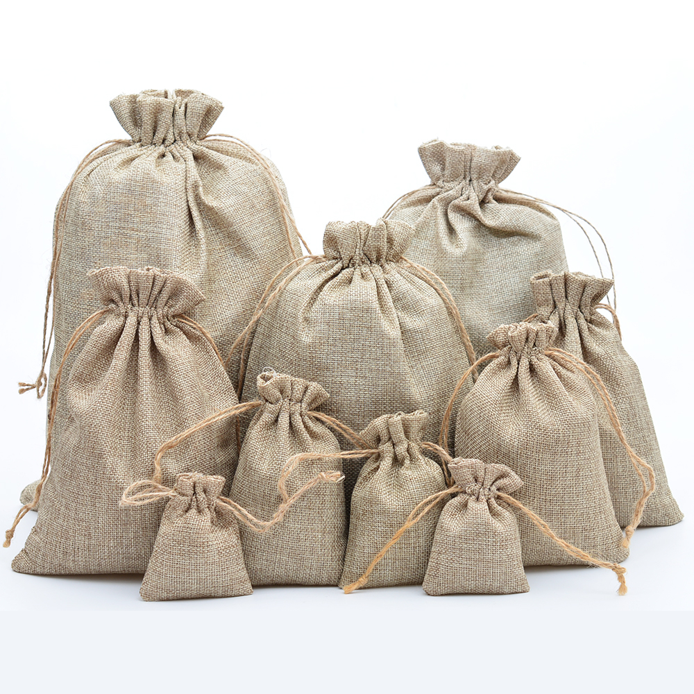 24 Piece Burlap Gift for Jewelry Pouch Drawstring Bags Wedding Candy Arts a