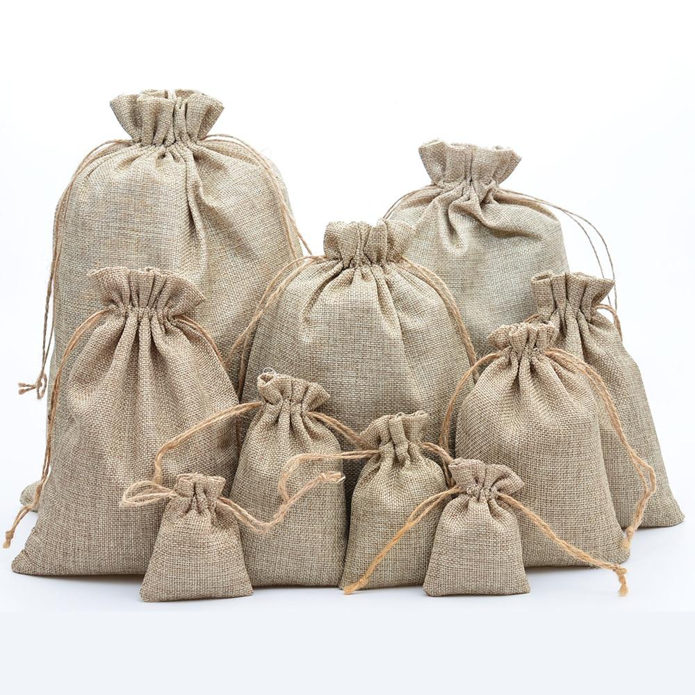 Natural Jute Drawstring Bag//Sack