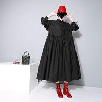 New 2019 spring Women's European Station Doll Dresses Butterfly Ties black Loose Long Dresses female vestido femme