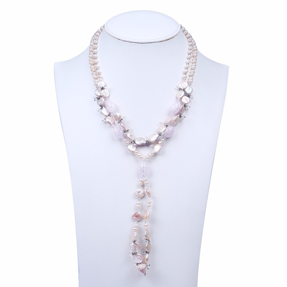 Pink flat button freshwater pearl necklaces jewelry with stone 2 layers long necklace for women necklace
