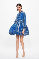 Women's Short Dress 2019 Lady Comfortable Summer Dress Beautiful Navy Blue Unique Patchwork Print A line Pleated One piece Dress