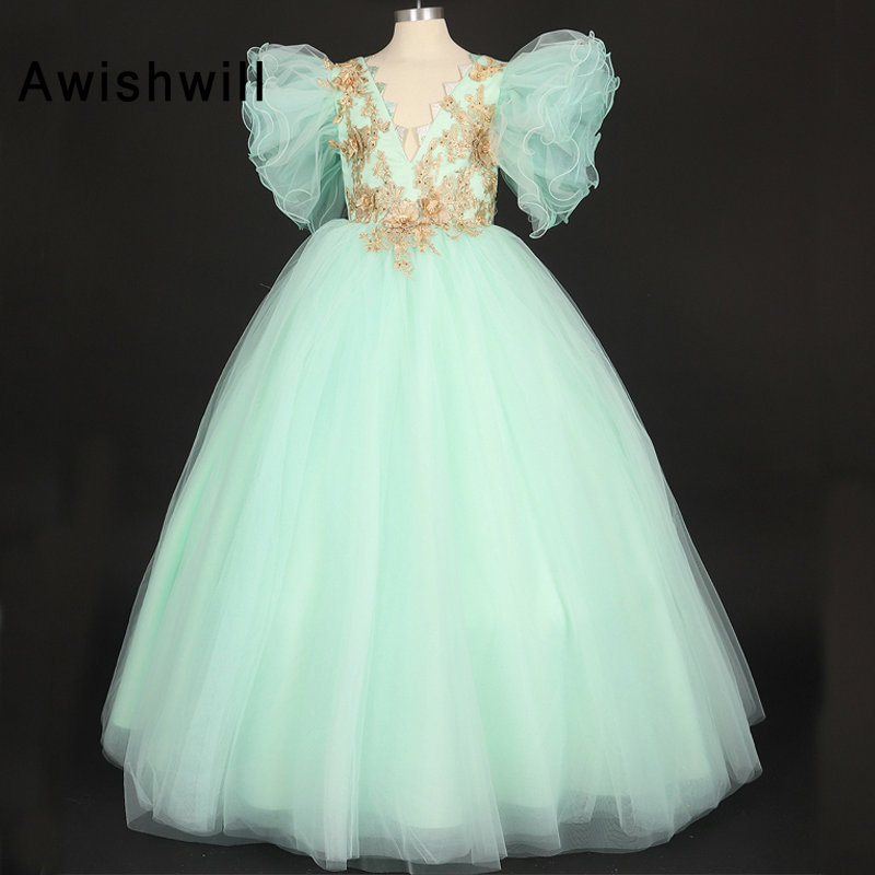 Custom Made 2019   Flower     Girls     Dresses   With Puffy Sleeves Tulle V Neck Appliques   Girls   Pageant   Dresses   Birthday Party   Dresses