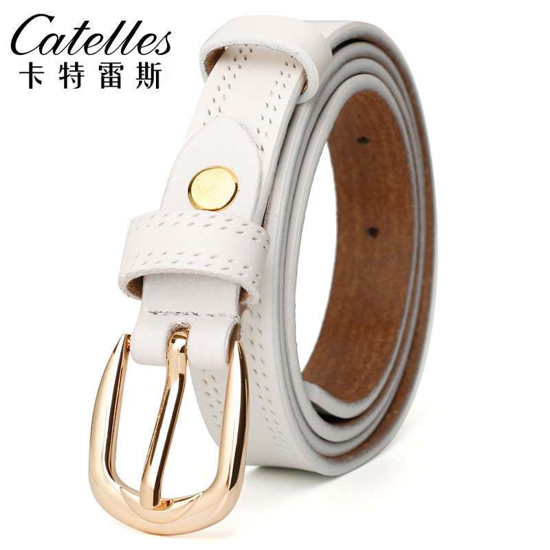 Coumll Casual Womens Genuine Leather Belt Cowhide Belt Straps With Stylish Diamond Buckles Belt Accessories Orange Roseo 115Cm