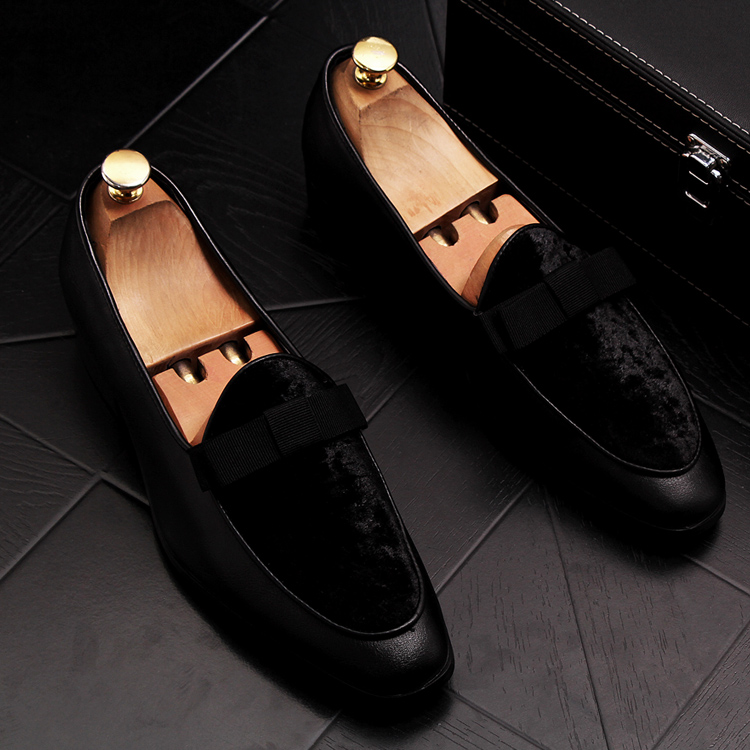 2019 Men Brand Dress Loafers Shoes Bow Tie Slippers Gentlemen Wedding Flats Casual Slip on Black+Red Suede Flats Shoes 2