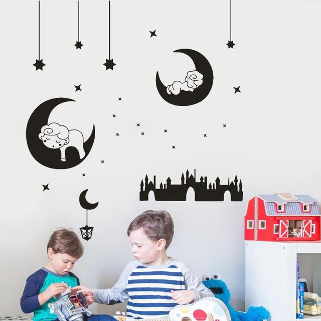 Wallstickers Etiqueta Da Parede Modern DIY Moon And Stars Stickers ...