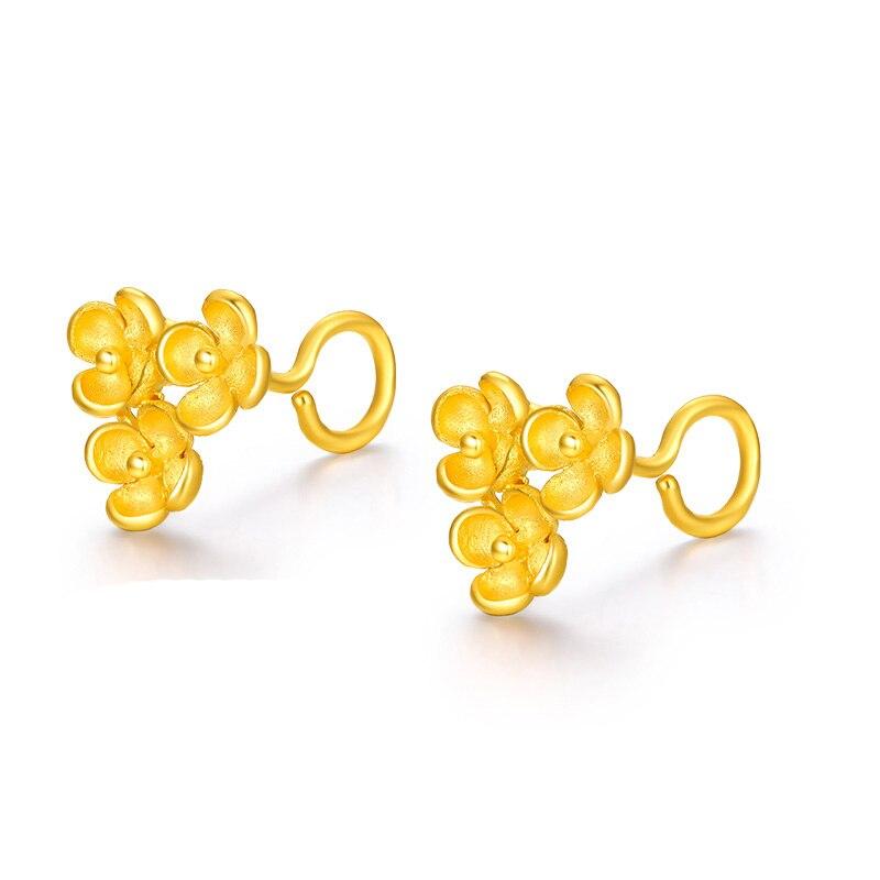 New Arrival Pure 24K Yellow Gold Flower Stud Earrings Women Earrings 2.85g