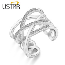 USTAR Geometric Weave Crystals wide Rings for women Silver color finger Engagement ring Jewelry Opening adjustable size gifts