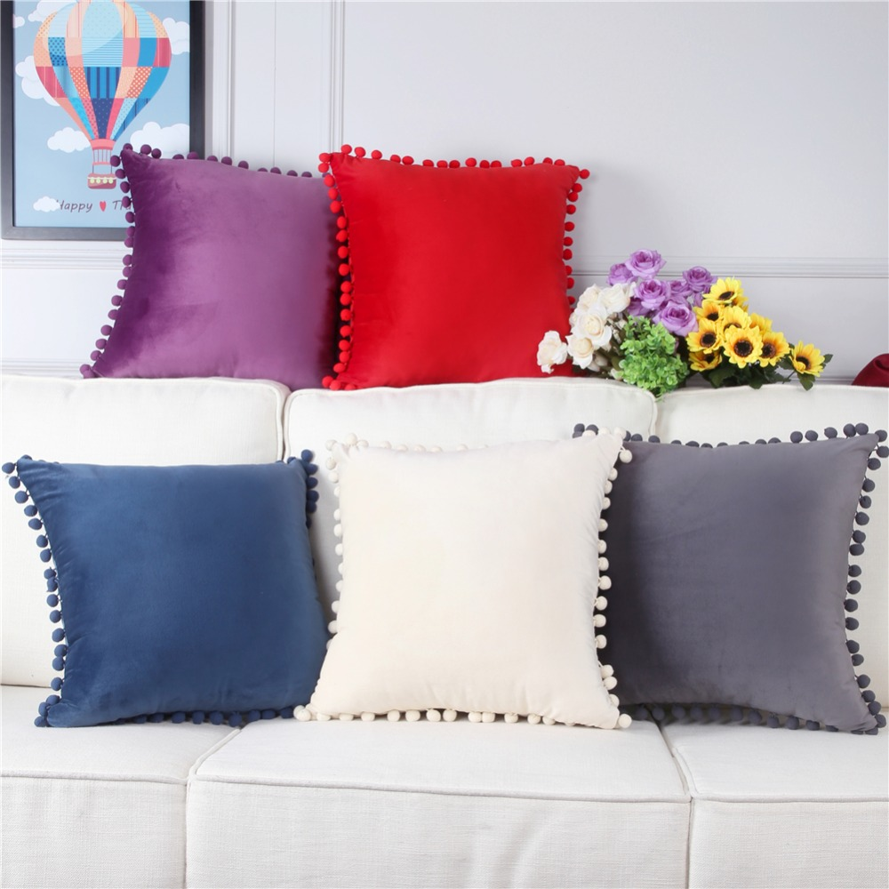 Topfinel Velvet Soft Decorative Throws Pillows Cushions Covers Luxury Square Pillowcase With Balls For Sofa Bed Car Home 45x45