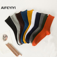 New Solid color double needle socks Men's medium sleeve business socks
