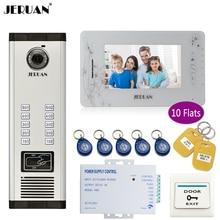 "JERUAN 7"" LCD Monitor 700TVL Camera Apartment video door phone 10 kit+Access Control Home Security Kit+8GB Card+free shipping"