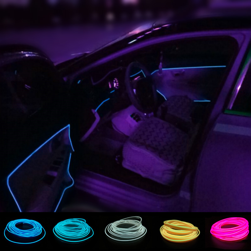 AUTO interior refit 2.3 mm X 2M clamping-edge Car stlying  EL Cold Light Wire Flexible Neon Light Car Decorate+ drive controller 2m auto interior refit light clamping edge el wire flexible neon car decorate with cigarette lighter drive for audi bmw benz vw