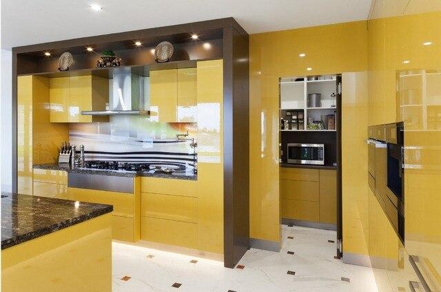 2017 Desain Baru Lemari Dapur Kuning Warna Modern Gloss Tinggi Lacquer Kitchen Furnitures L1606054