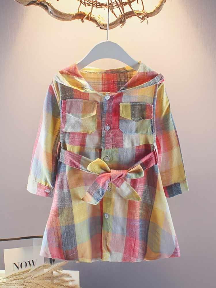 Весенне-летняя одежда для маленьких девочек детское модное клетчатое платье с капюшоном детская мягкая одежда для малышей Детские платья для отдыха на выход