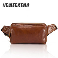 Brand New Mens Genuine Leather Waist Bag Backpacks Shoulder Bag Vintage Leather Belt Fanny Packs Phone Case Bag B612