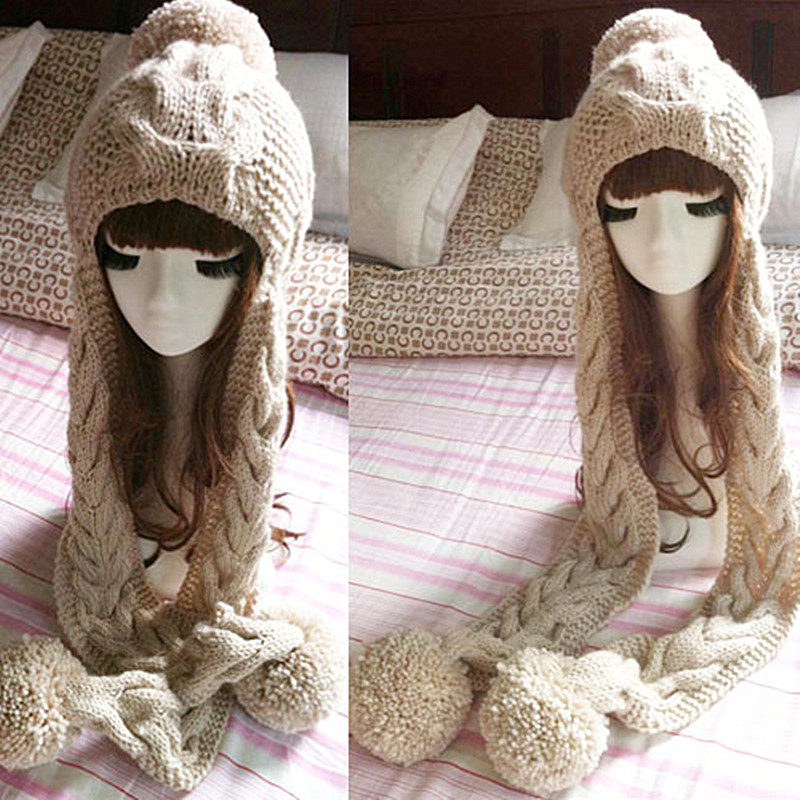 BomHCS Fashion New Designer Women's Thick Cable Handmade Knit Beanie Ear Muff Warm Scarf Hat with Top Ball