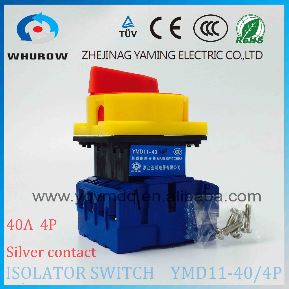 Isolator switch YMD11-40A 4P load break switch universal power cut off switch on-off changeover cam switch 8 sliver contacts original switch on off power