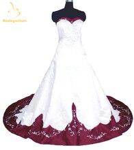 Bealegantom White Long Satin Wedding Dresses 2017 Embroidery Beaded Lace Up Bridal Gowns Vestido De Novia QA1114
