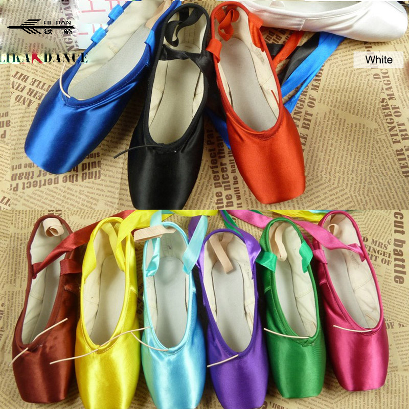 Ballet Dance Wear Pointe shoes colorful white black red yellow blue green /Red Dance Shoes/Ballet Shoes Kids Point Shoes/ colorful ballet pointe shoes silky satin material beautiful colors professional ballet dance pointe shoes
