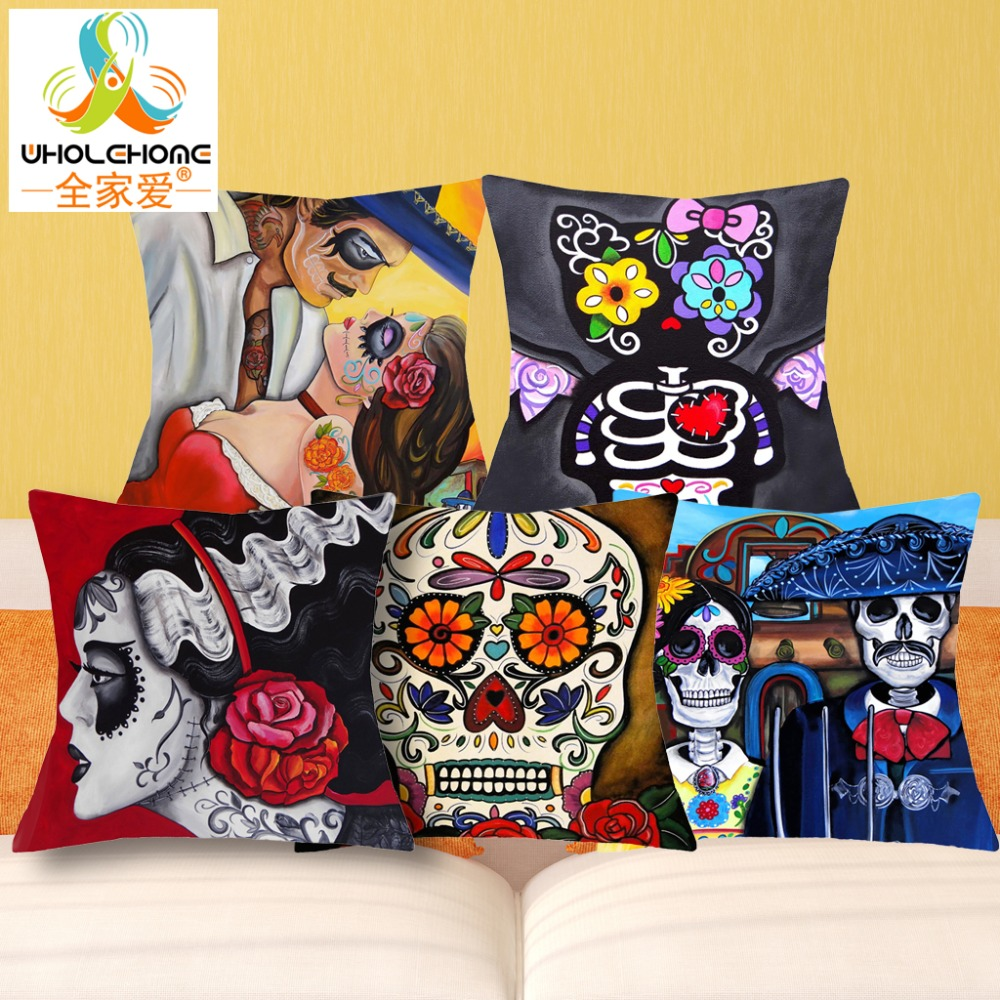 43*43cm New Print Style Color Suger Skulls Cushions Linen Cushion Cover Family Badges Throw Pillow For Living Bed Room 1 Pcs