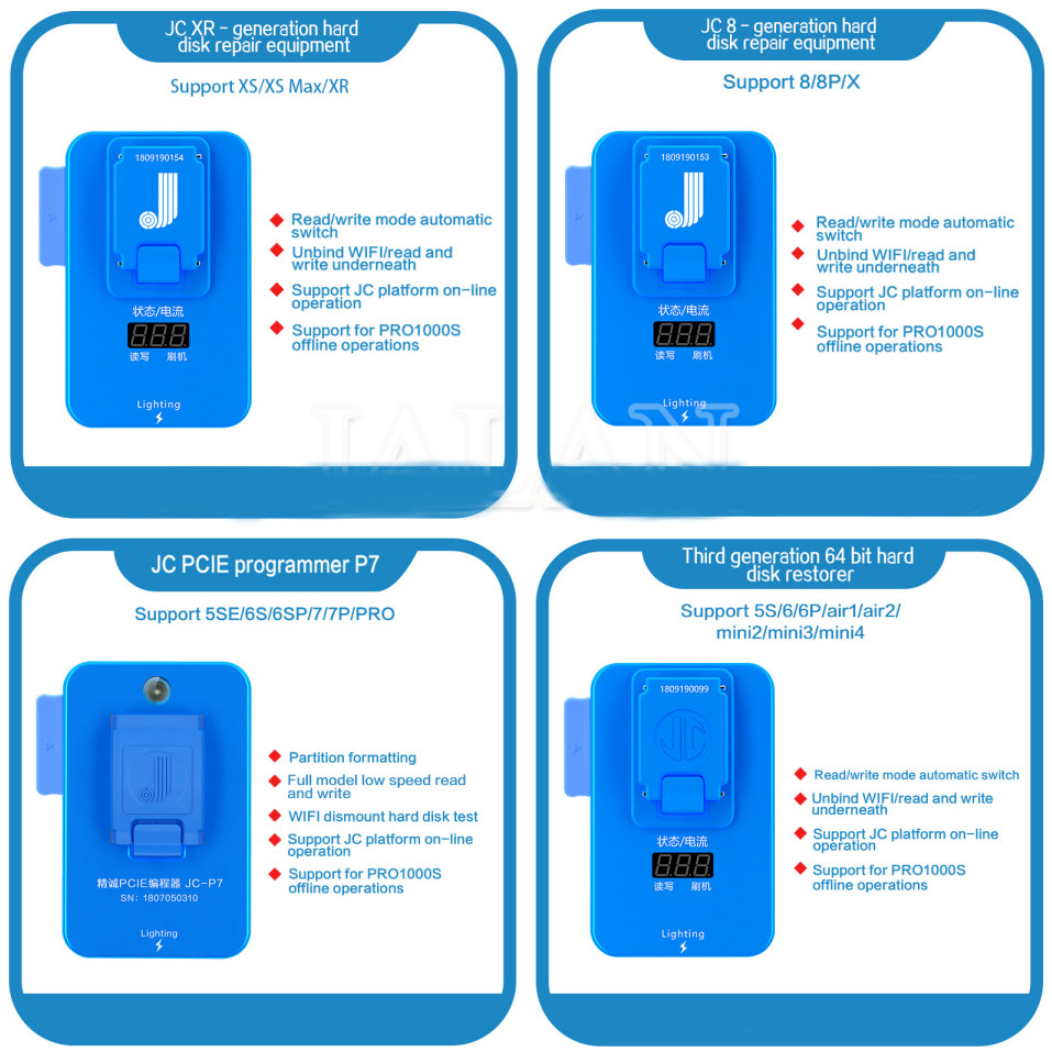 JC NAND generation hard disk repair equipment Flash Memory IC Programmer Pro1000S For iPad iPhone Chip Read Write AdapterJC NAND generation hard disk repair equipment Flash Memory IC Programmer Pro1000S For iPad iPhone Chip Read Write Adapter