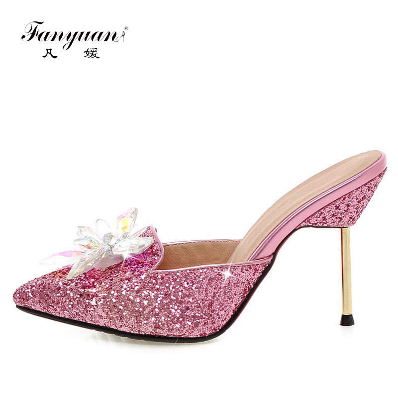 Fanyuan 2017 Women Slippers Stiletto Mules High Heels Slides Sexy Bling Crystal Flower Ladies Party Sandals