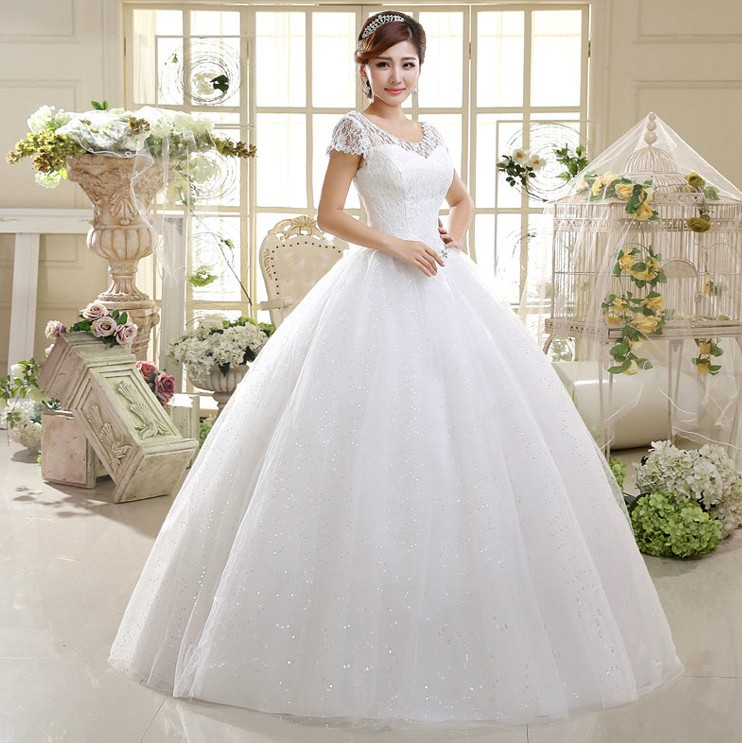 Big Discount Ball Gown Beige/Red Short Sleeve Beads Organza Wedding ...