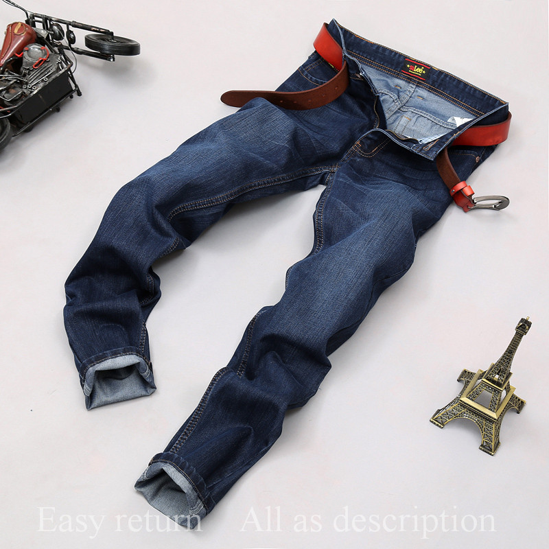 2016 Winter Autumn Mens Large Plus Trouser High Quality Slim Blue Denim Ripped Jeans for Men Big and Tall Size Pants