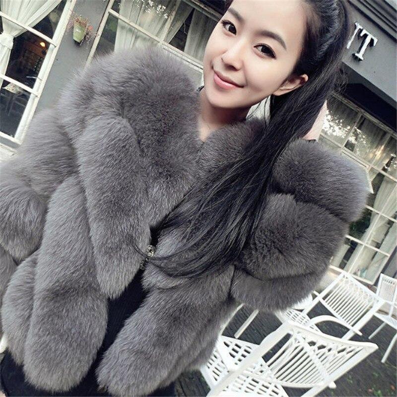 Otoño Invierno Nueva Moda Cuello en V Faux Fox Fur Coat Mujeres - Ropa de mujer