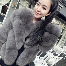 Autumn Winter New Fashion V Neck Faux Fox Fur Coat Women Long